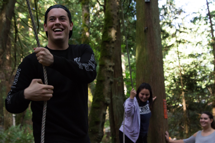 WWU Student on the Challenge Course at Lakewood